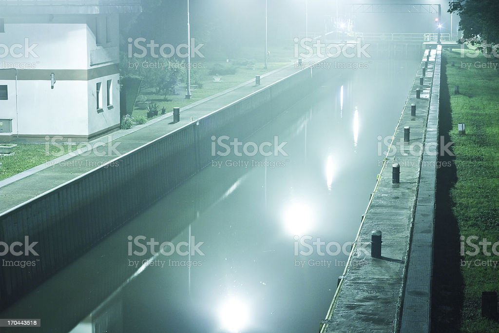 River weir at nigh royalty-free stock photo