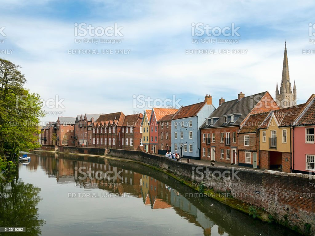 River Wensum and Quayside from Fye Bridge, Norwich stock photo