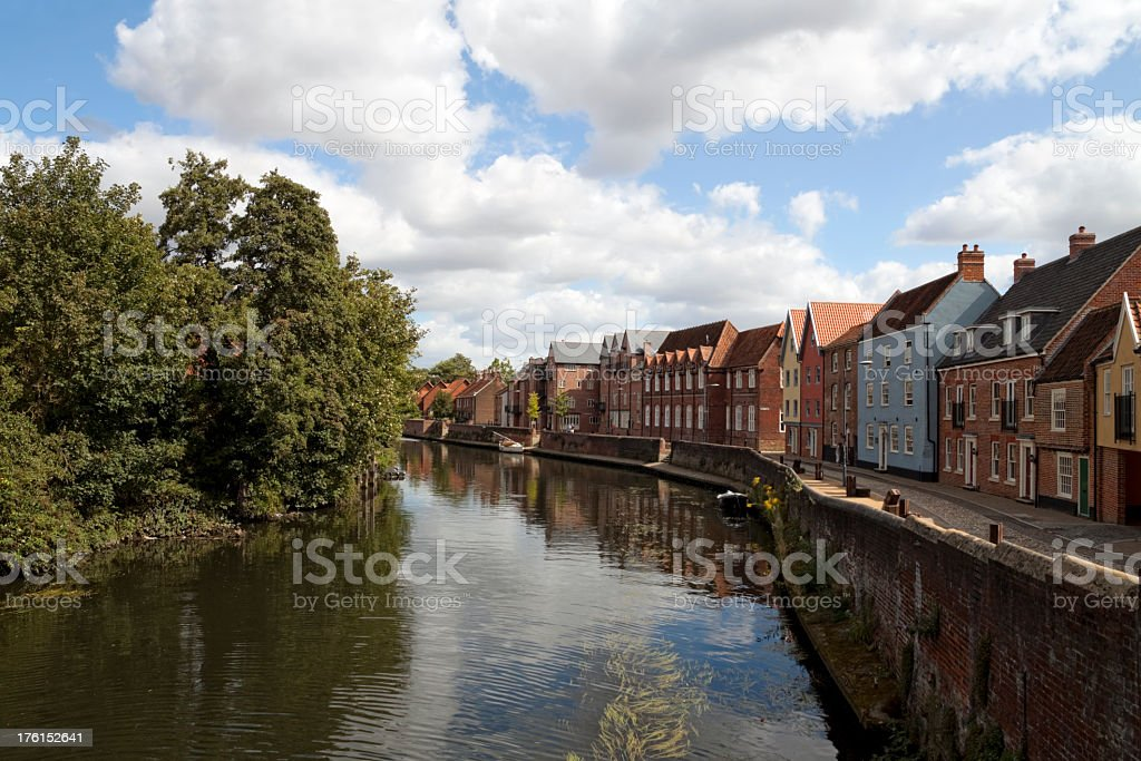 River Wensum from Fye Bridge, Norwich stock photo