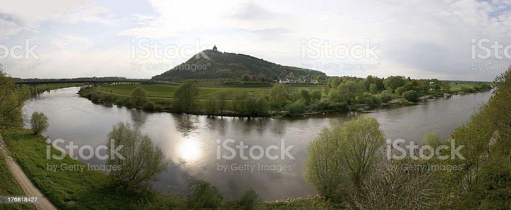 River Weser and landmark Kaiser-Wilhelm-Denkmal in Germany stock photo