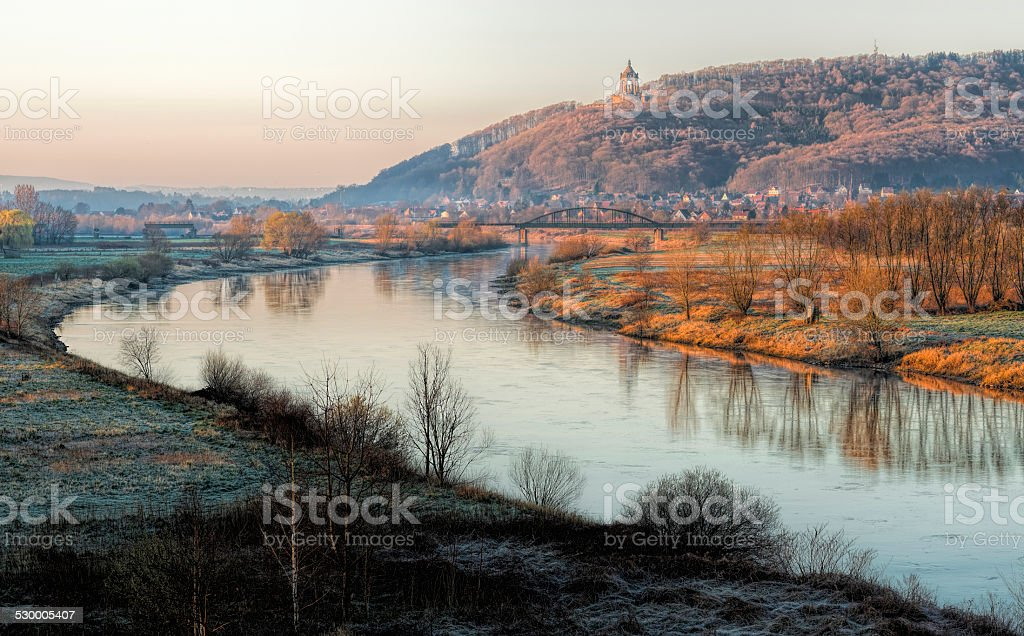 River Weser at Porta Westfalica with Kaiser Wilhelm II monument stock photo