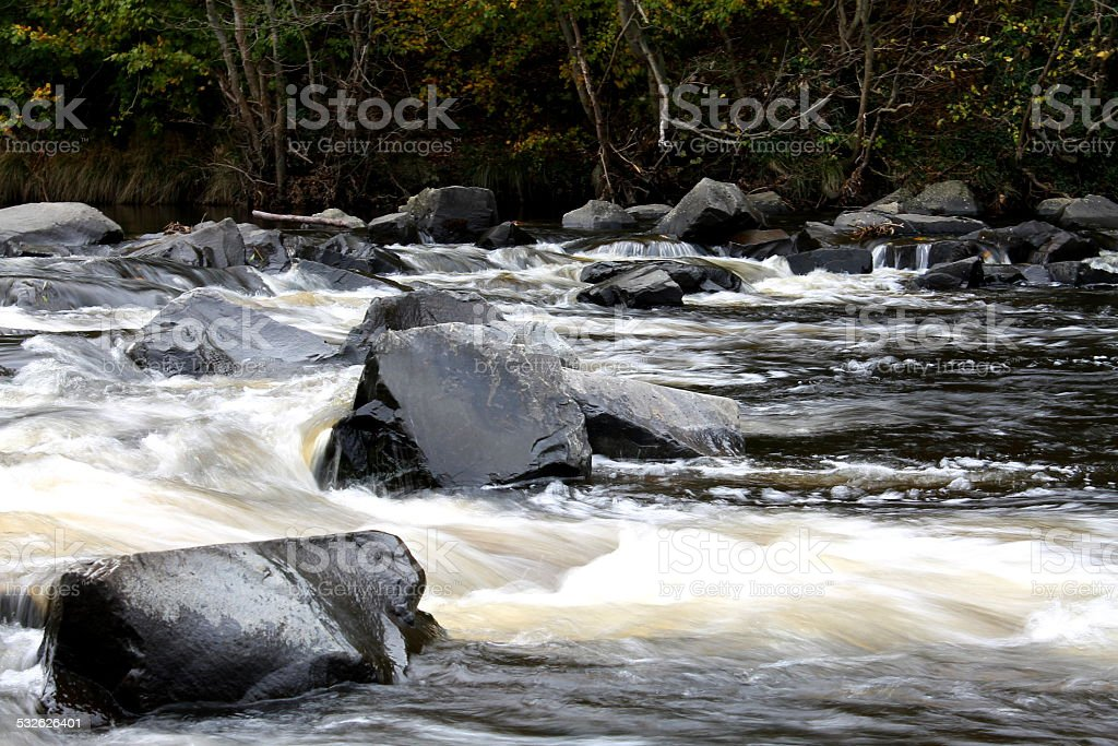 River Wier long exposure - autumn, distant photo stock photo