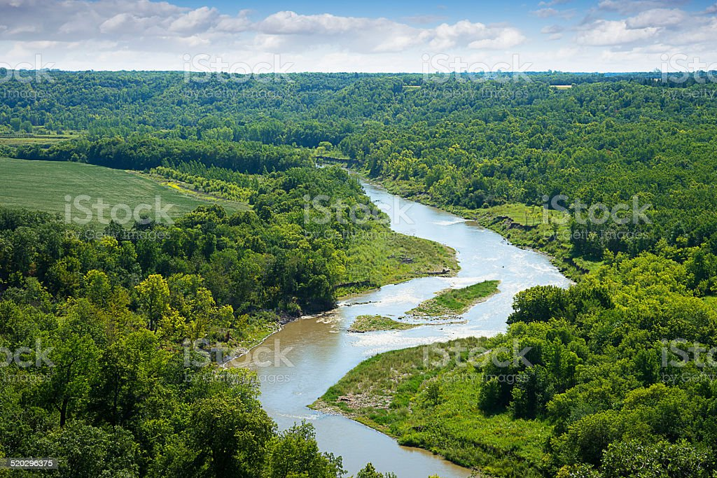 River Winding through Lush Forest Landscape stock photo