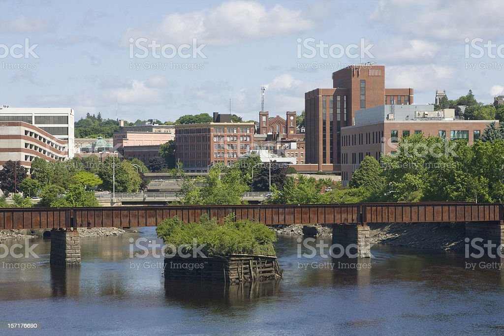 River with a low bridge in Bangor, Wales stock photo