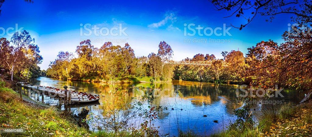 River with bridge crossing panorama stock photo