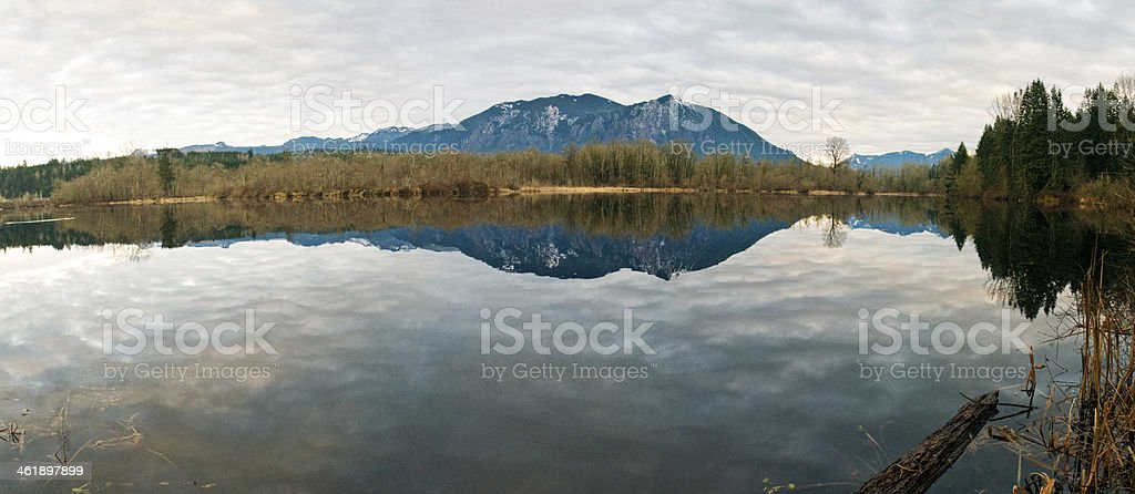 River with Cascade Mountains in background stock photo