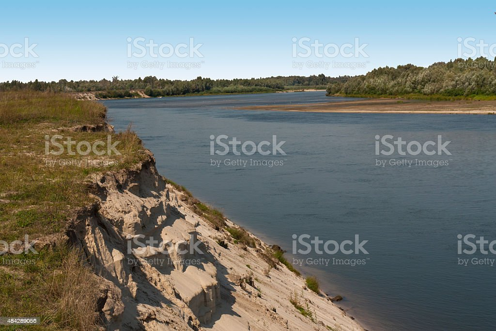 River with deep blue water stock photo