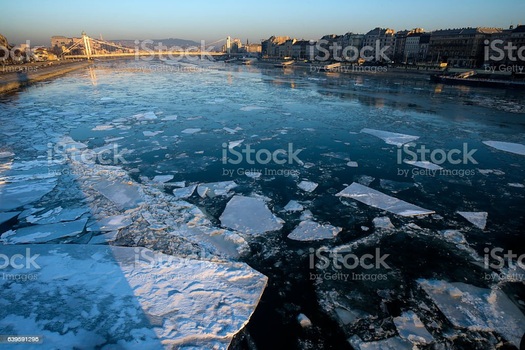 River with floating ice stock photo