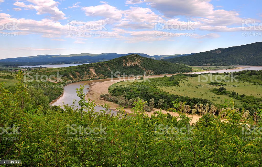 River with many meanders stock photo