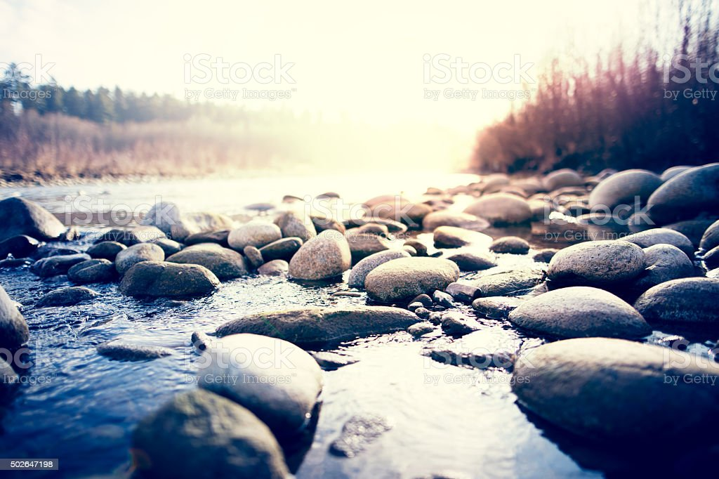 River with pebbles stock photo