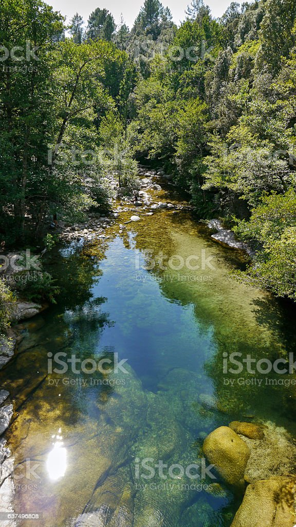 River with turquoise water in the French mountains stock photo