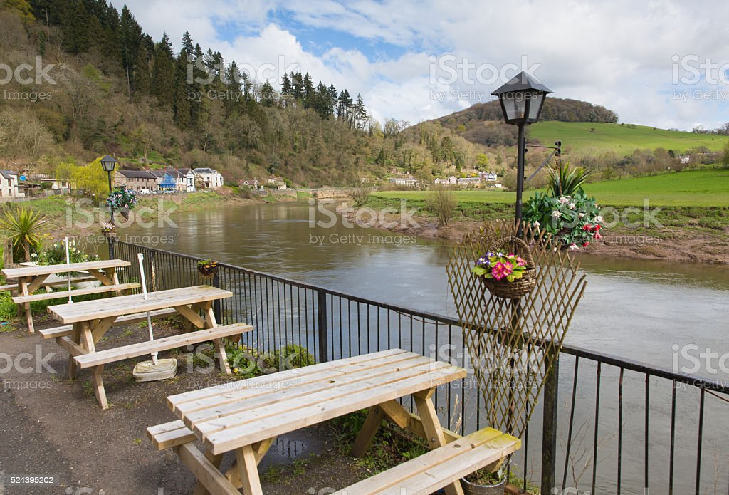 River Wye near Tintern Abbey Wye Valley Wales countryside uk stock photo