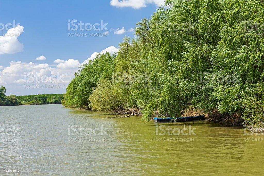 Riverbank landscape. stock photo