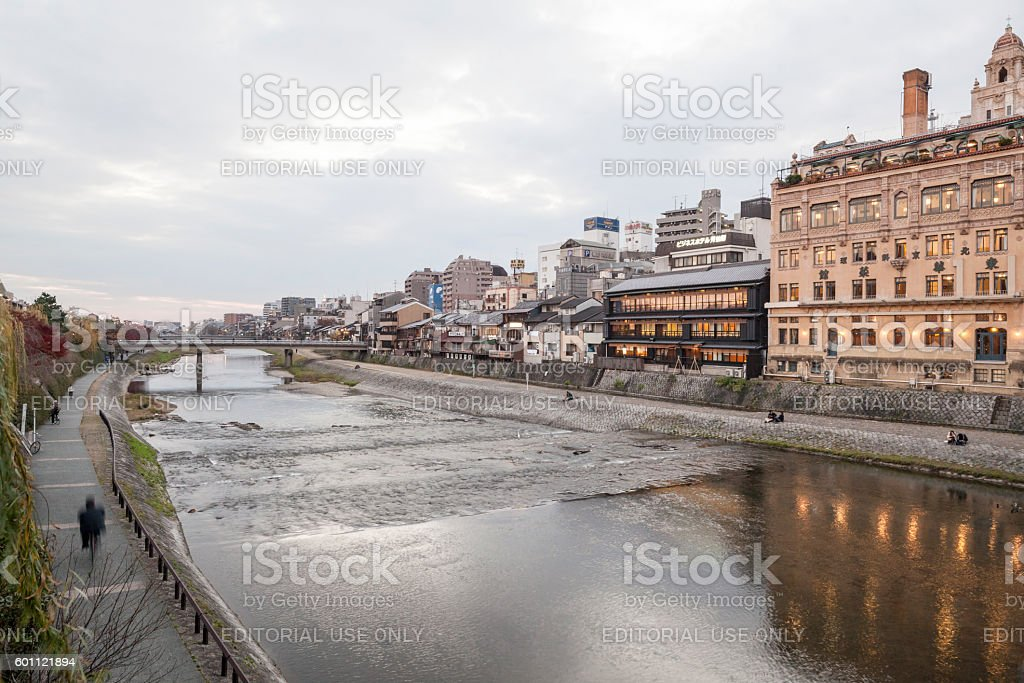 Riverbank of the Kamo River in Kyoto Japan stock photo