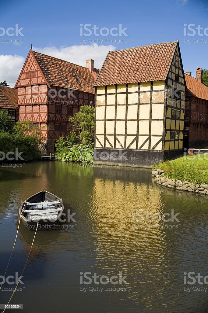 Riverbank old houses stock photo