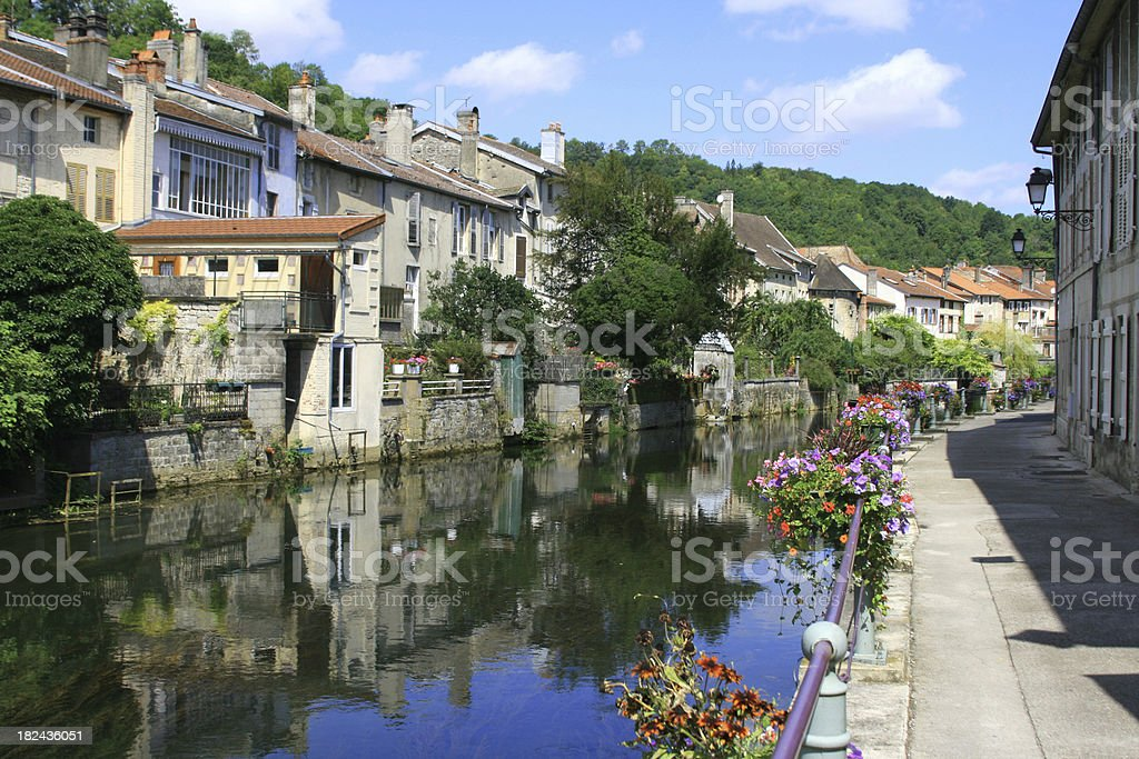 Riverbank scene at Joinville in Champagne-Ardenne region, France royalty-free stock photo