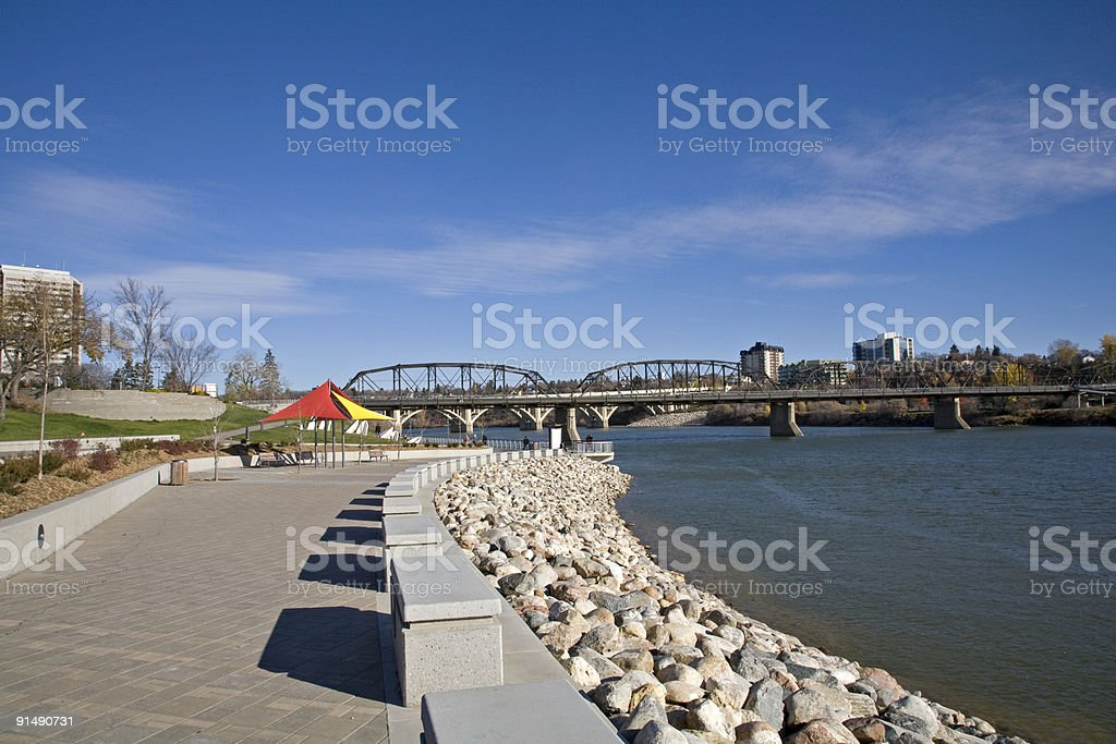Riverbank Walking Path in Downtown Saskatoon stock photo
