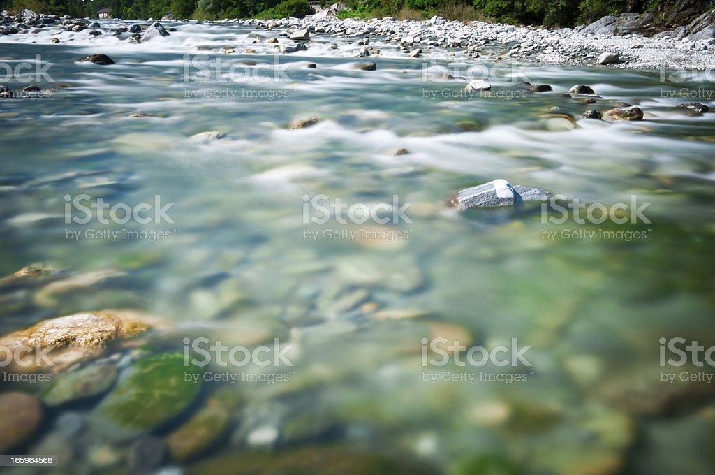 riverbed of river Maggia in Switzerland stock photo