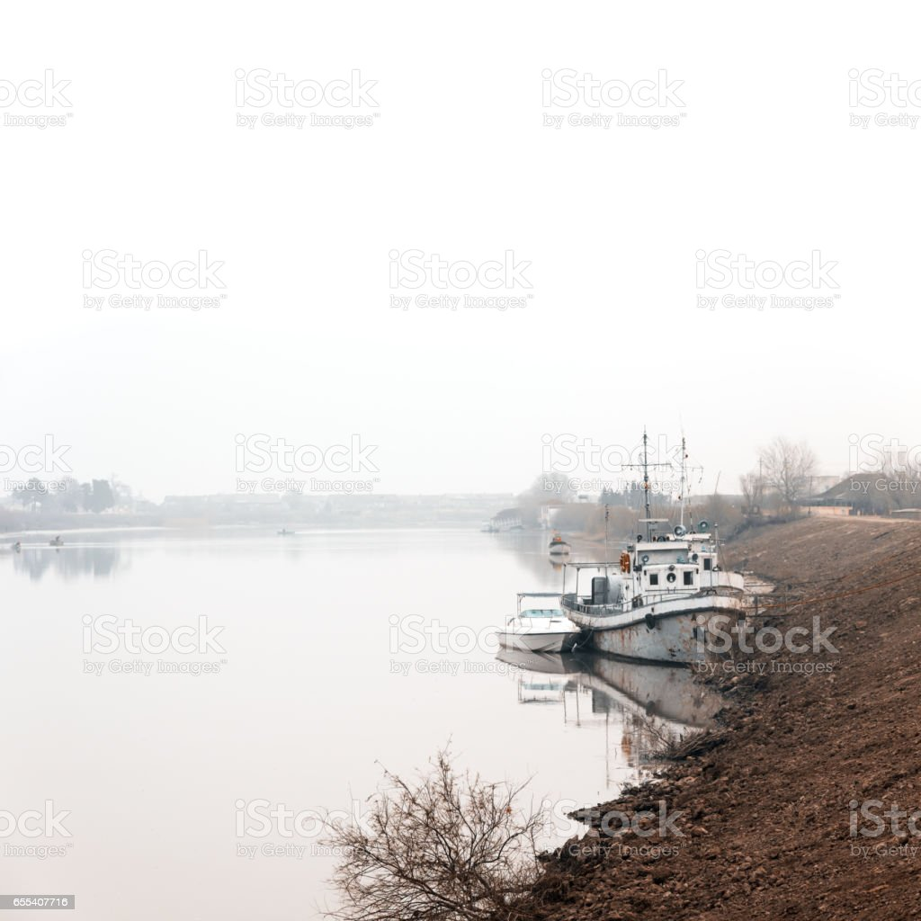 Riverbed on fog stock photo
