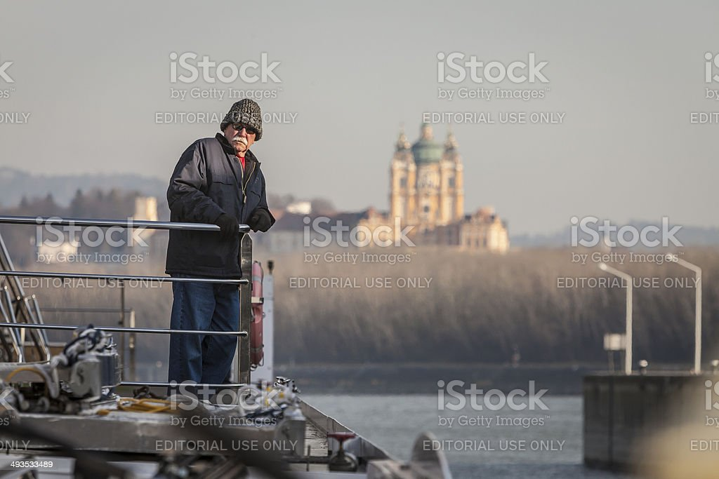 Riverboat Crewman on Danube stock photo