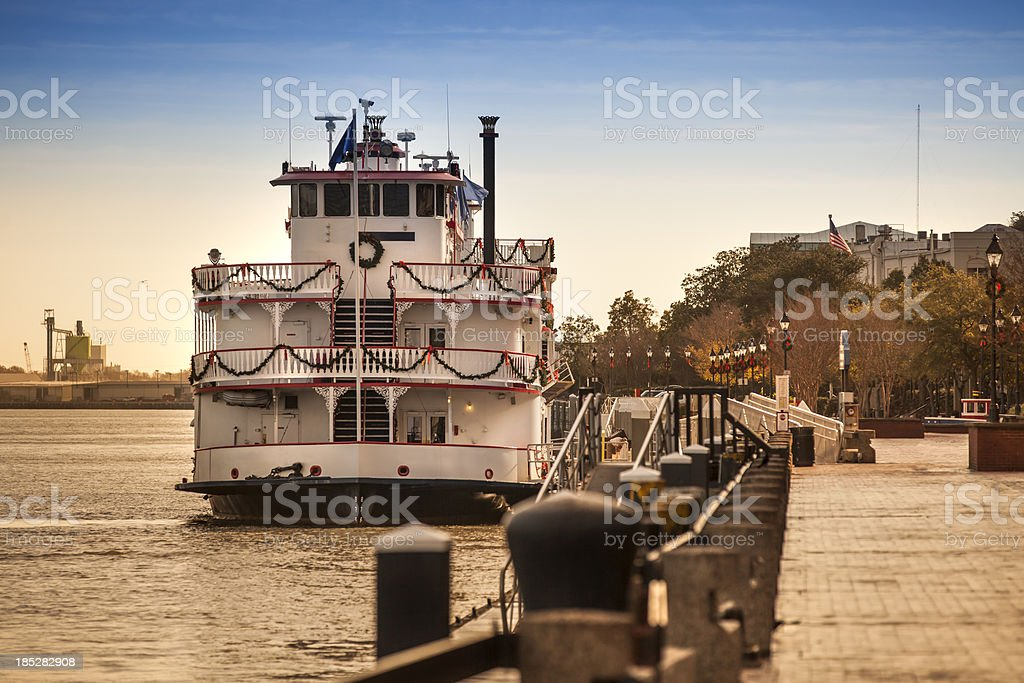 Riverboat floats on the Savannah River stock photo
