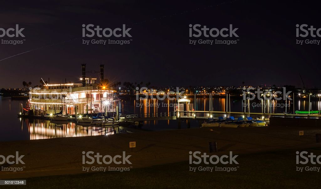 Riverboat in Mission Bay, San Diego stock photo