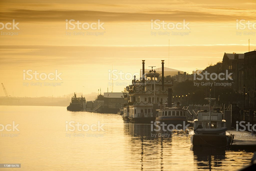 Riverboats in the morning royalty-free stock photo
