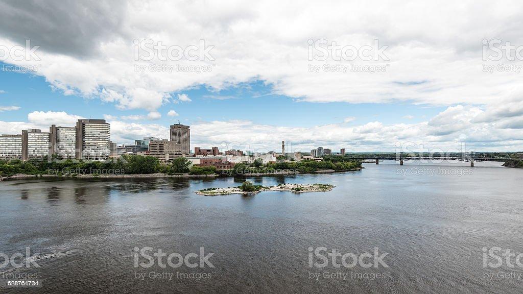Riverfront and Alexandra Bridge in Gatineau stock photo