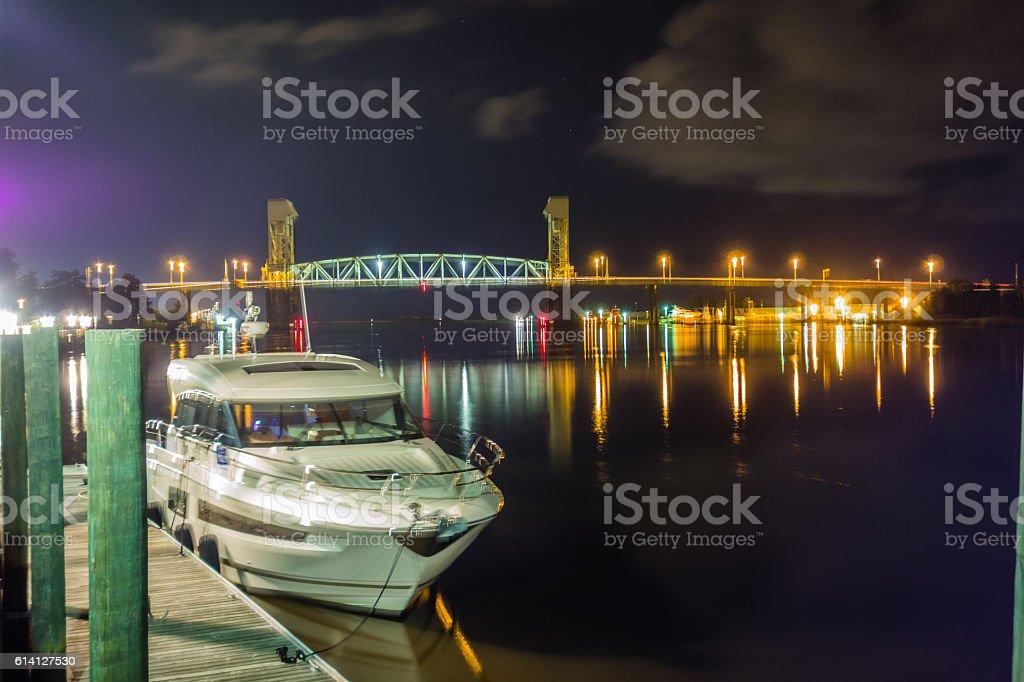riverfront board walk scenes in wilmington nc at night stock photo