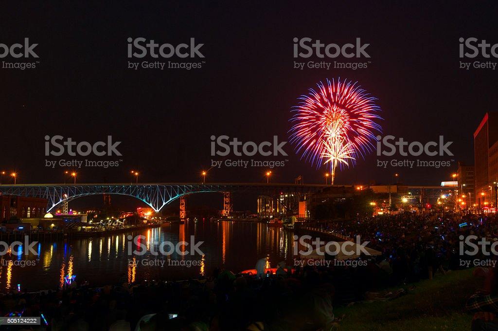 Riverfront fireworks stock photo