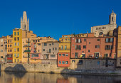 Riverfront houses (Cases) in the old city of Girona, Catalonia,