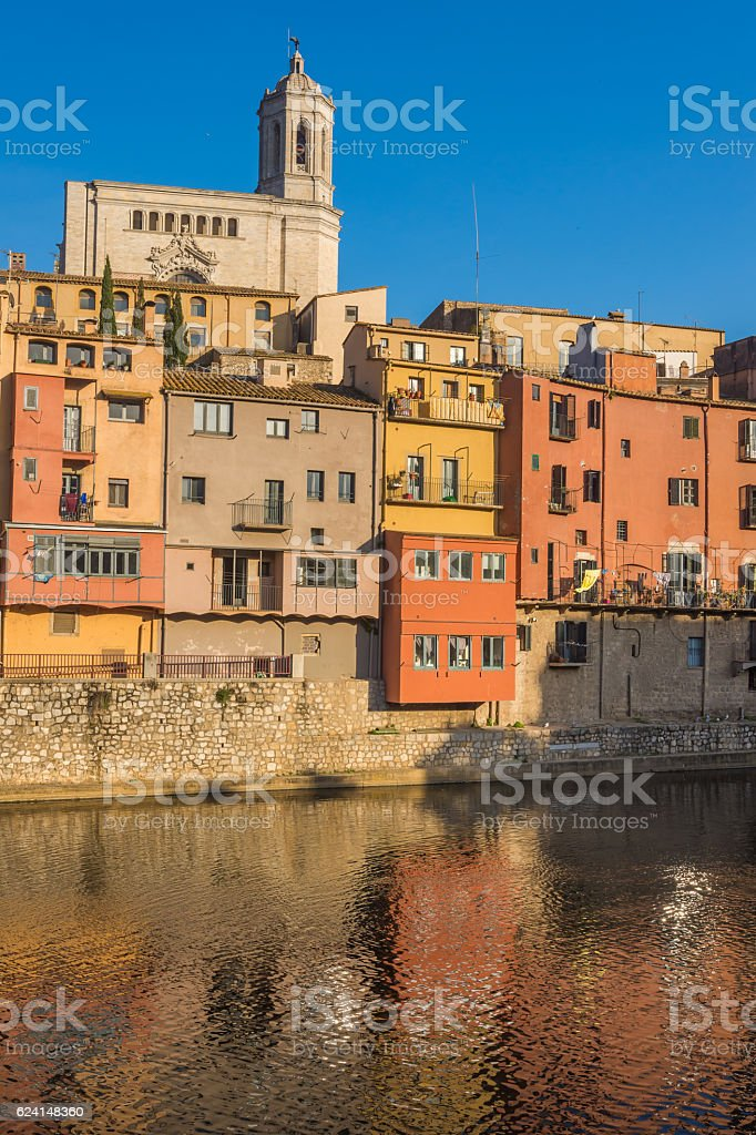 Riverfront houses (Cases) in the old city of Girona, Catalonia, stock photo
