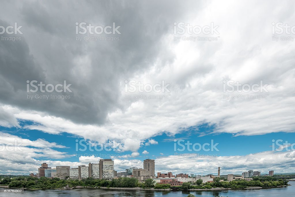 Riverfront in Gatineau stock photo