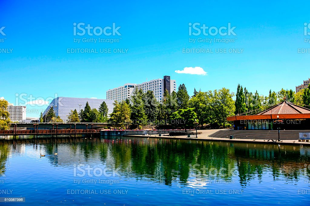 Riverfront Park and city view of Spokane, Washington stock photo