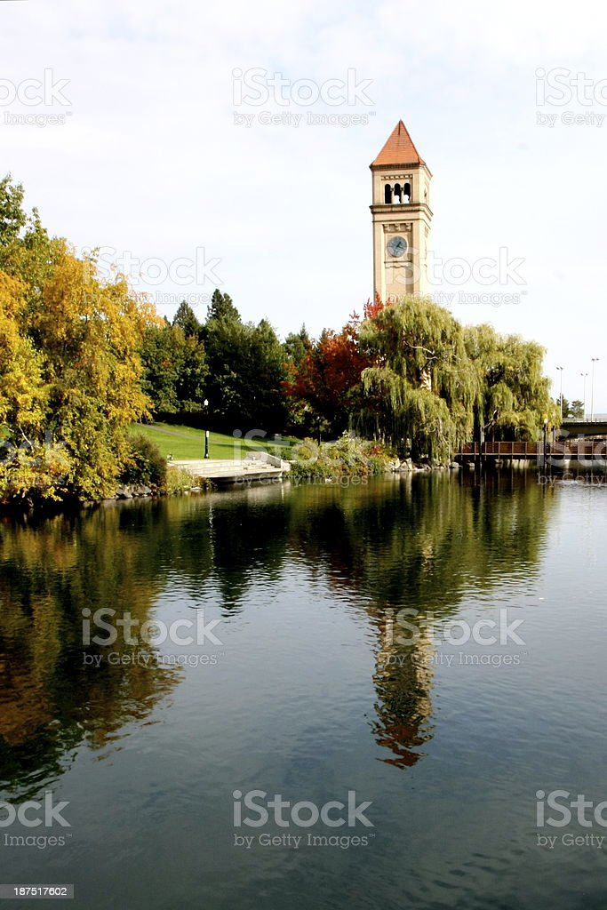 Riverfront Park Clock Tower stock photo