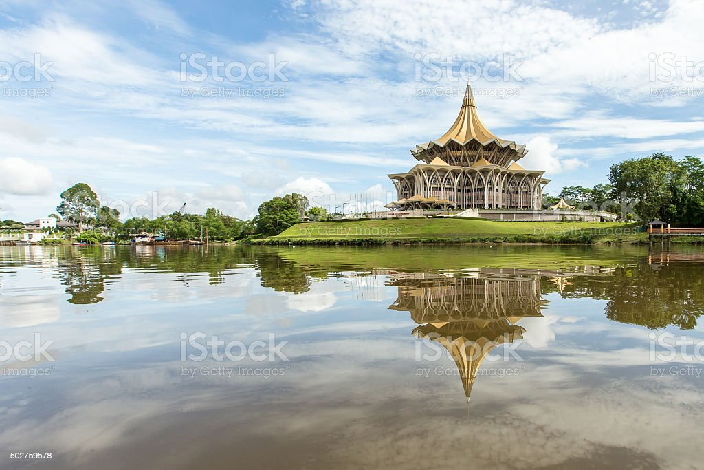 Riverfront view of Sarawak State Legislative Assembly stock photo