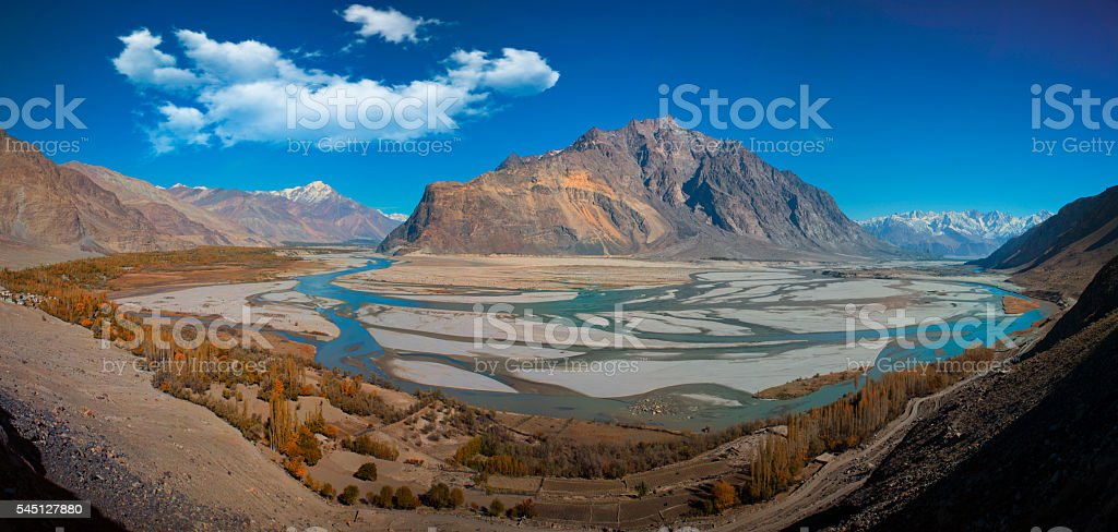 Rivers Meeting Shigar Valley Road stock photo