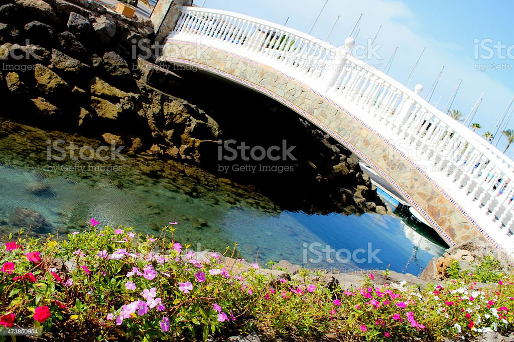 Riverside and the bridge over the river royalty-free stock photo