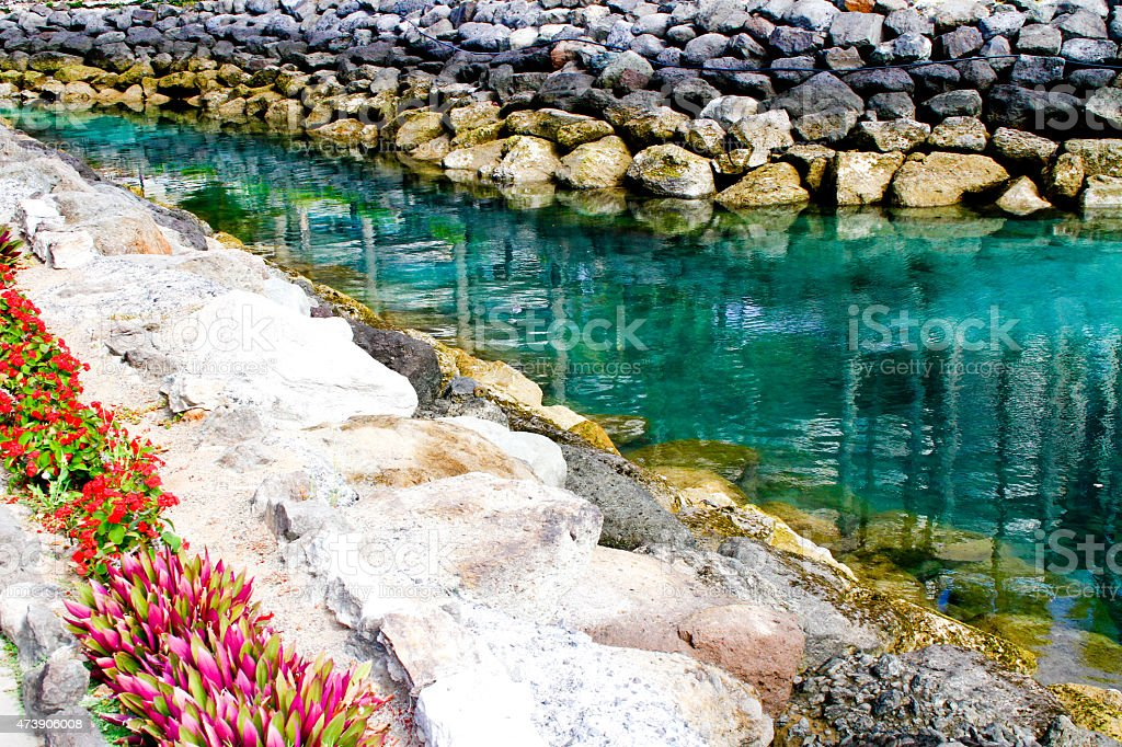 Riverside and the stones by the water royalty-free stock photo