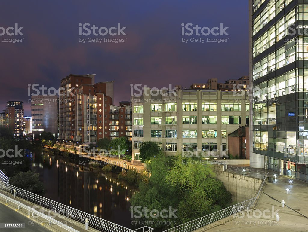 Riverside apartments and offices stock photo