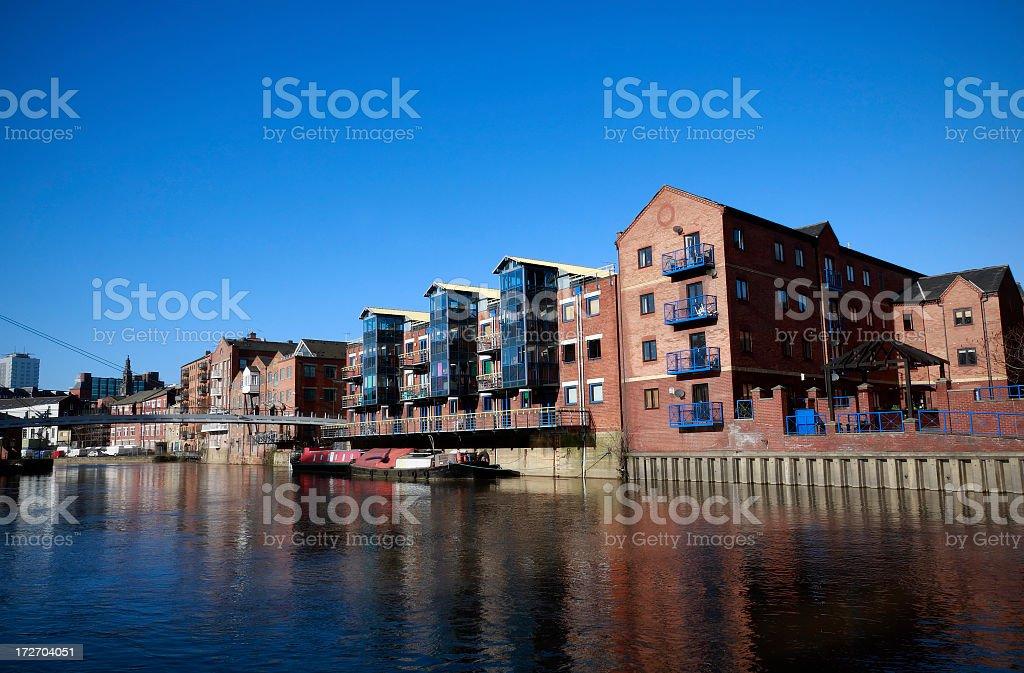 Riverside apartments stock photo