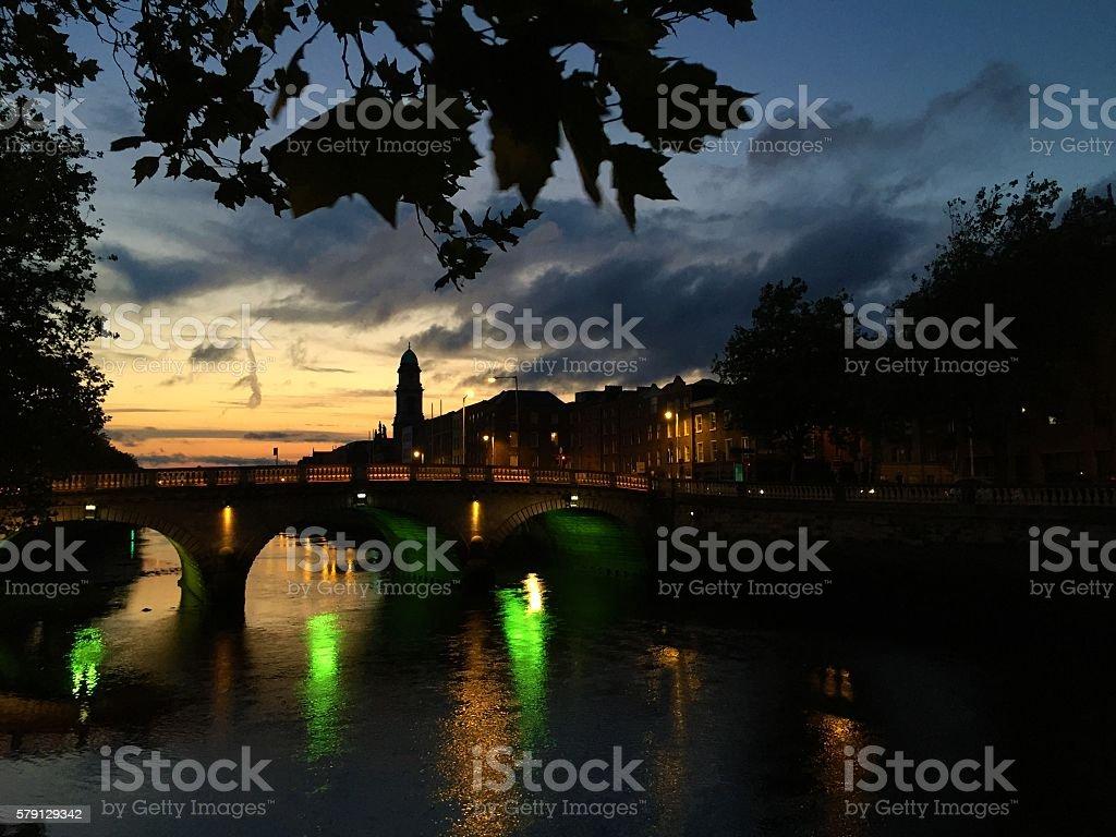 Riverside at night stock photo