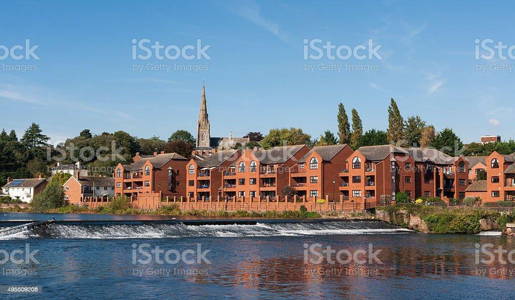 Riverside buildings on the river Exe in Exeter, Devon stock photo