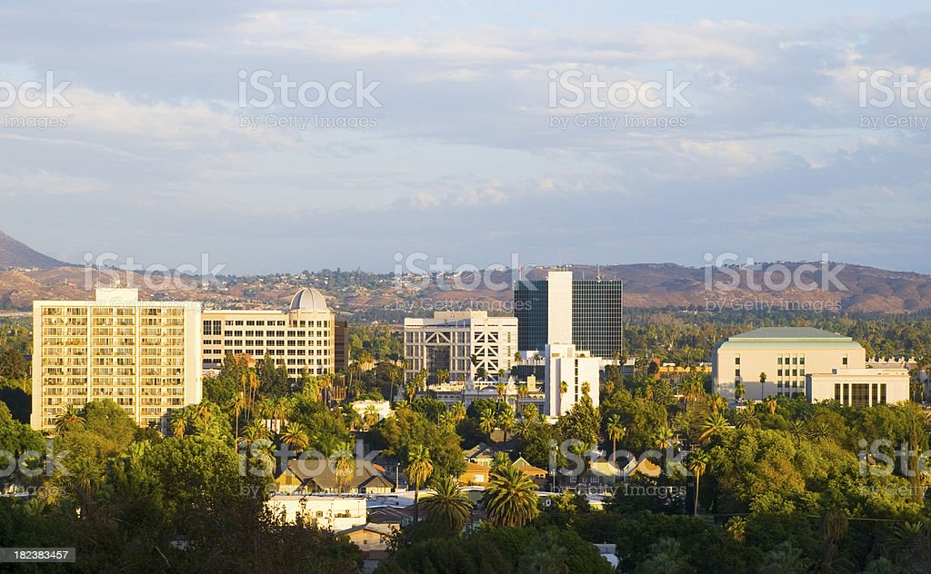 Riverside, CA downtown skyline stock photo