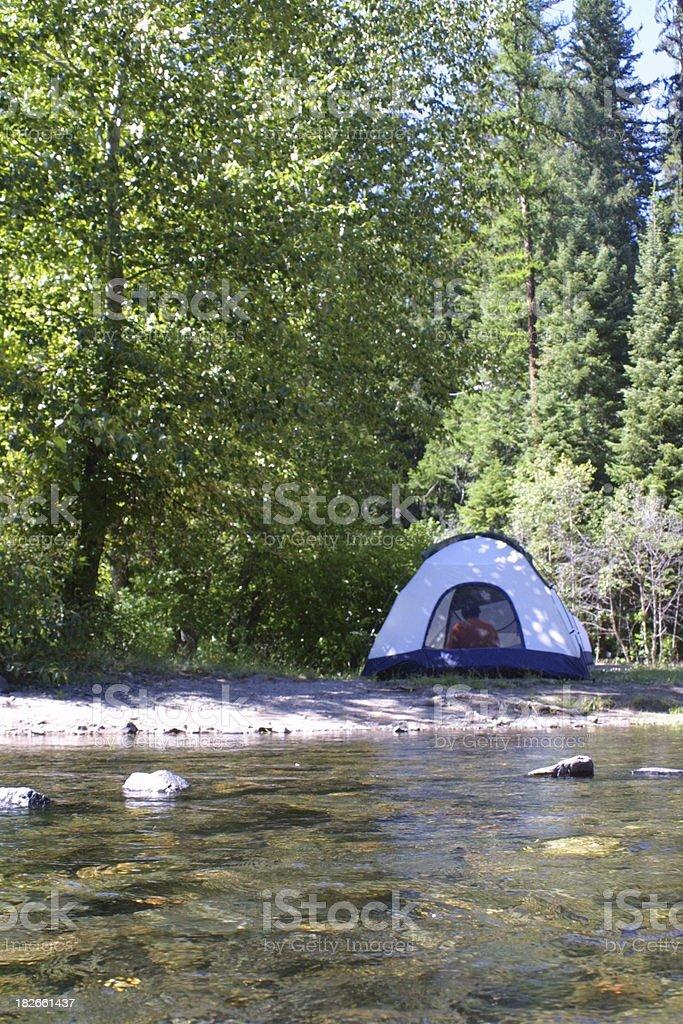 Riverside Campsite royalty-free stock photo