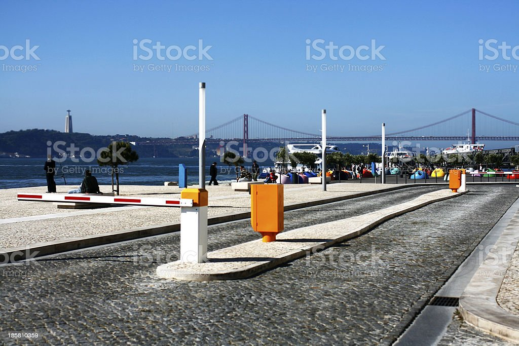 Riverside cityscape and promenade of Tejo River Embankment in Li royalty-free stock photo