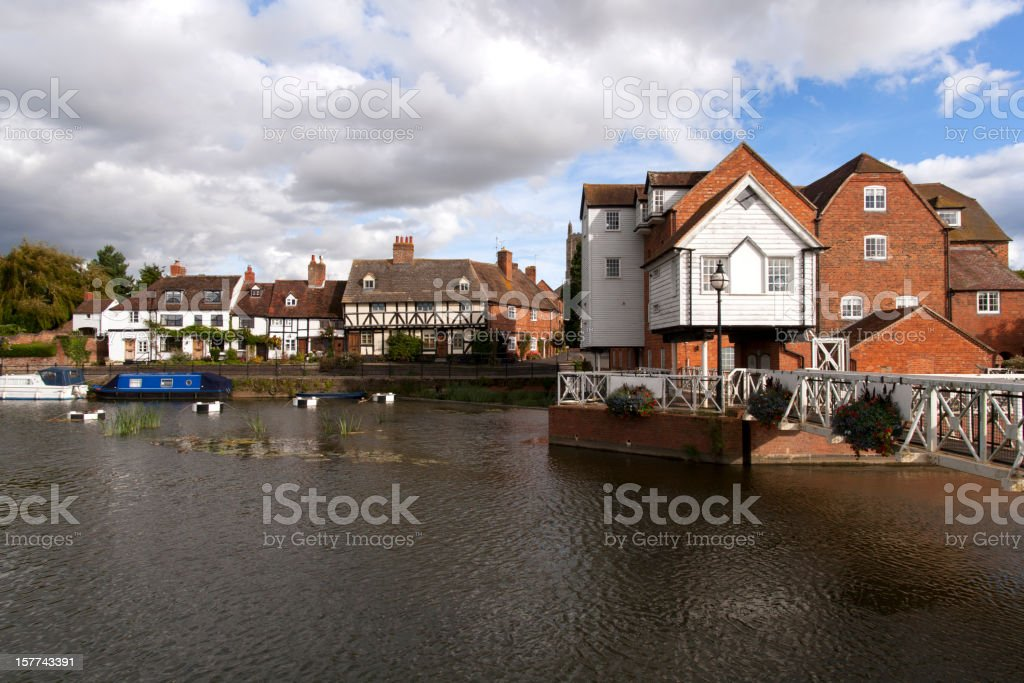 Riverside cottages by Abbey Mill, Tewkesbury, Gloucestershire, UK stock photo