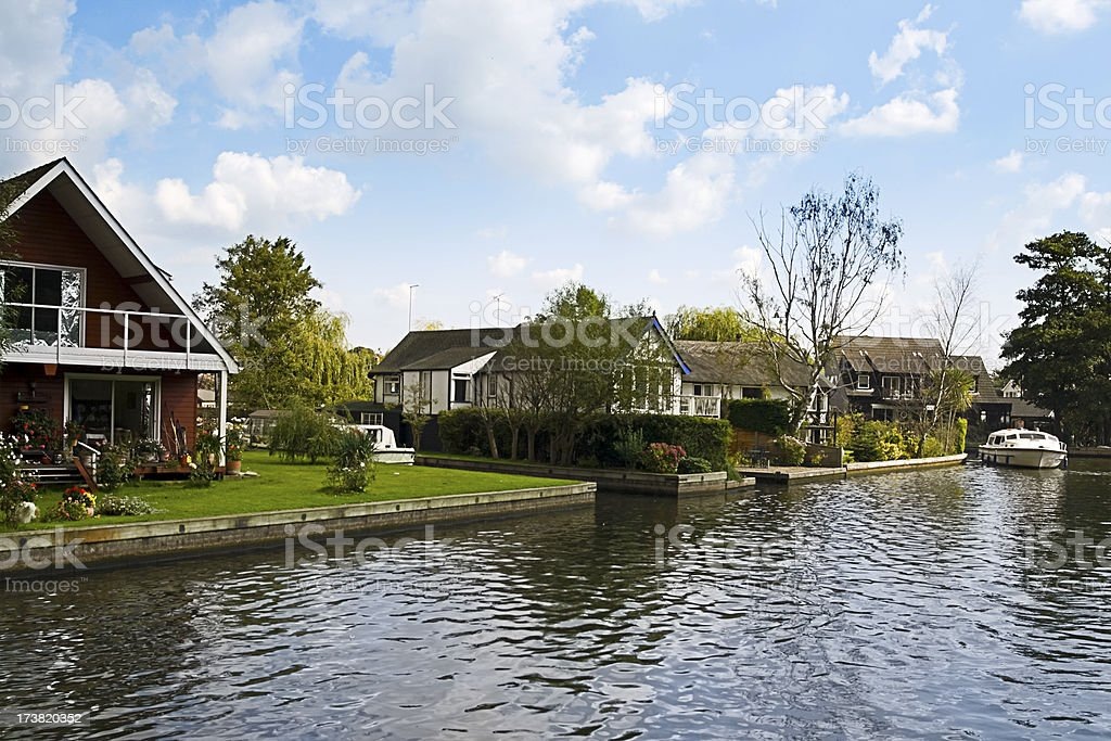 Riverside cottages stock photo