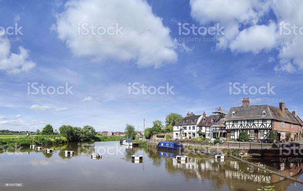 Riverside cottages, Tewkesbury, Gloucestershire, England royalty-free stock photo