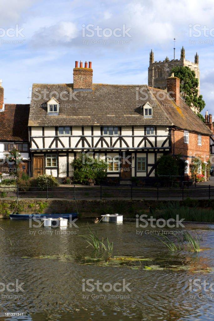 Riverside cottages,Tewkesbury, Gloucestershire, UK stock photo
